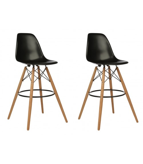 Set of 2 30 Inch DSW Black Plastic Bar Stool with Wood Eiffel Legs