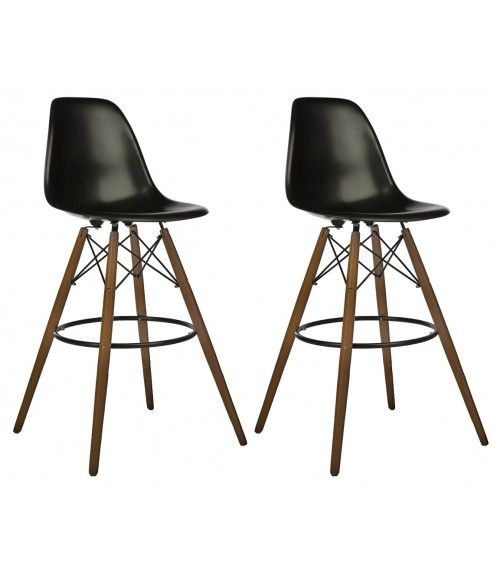 Set of 2 30 Inch DSW Black Plastic Bar Stool with Dark Walnut Eiffel Legs