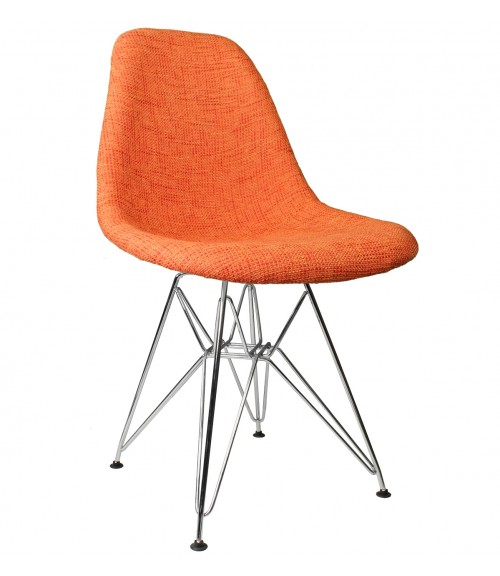 Orange Fabric Upholstered Mid-Century Eames Style Accent Side Dining Chair
