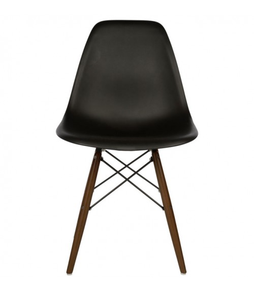 eames style dsw molded black plastic dining shell chair with dark