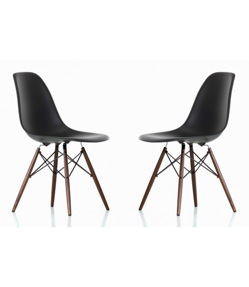 Set of 2 DSW Molded Black Plastic Dining Shell Chair with Dark Walnut Wood Eiffel Legs