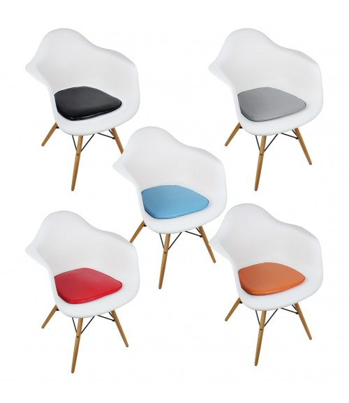 Eames Style DAW Molded White Plastic Dining Armchair with Cushion