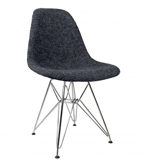 Black Fabric Upholstered Mid-Century Accent Side Dining Chair