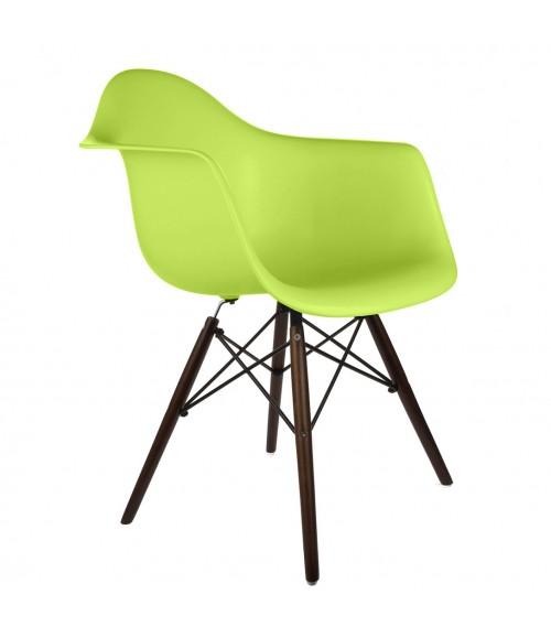 DAW Molded Lime Green Plastic Dining Armchair with Dark Walnut Wood Eiffel Legs