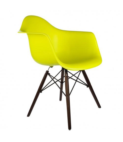 Eames Style DAW Light Yellow Plastic Dining Armchair with Dark Walnut Wood Eiffel Legs