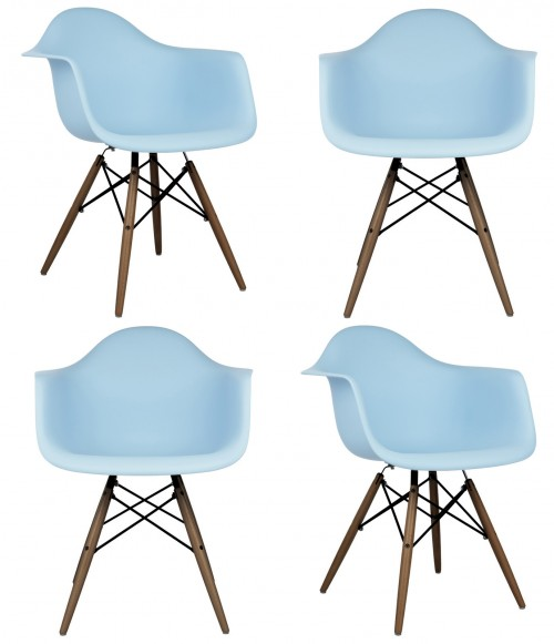 Set of 4 DAW Molded Light Blue Plastic Dining Armchair with Dark Walnut Wood Eiffel Legs