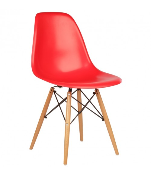 DSW Molded Red Plastic Dining Shell Chair with Wood Eiffel Legs