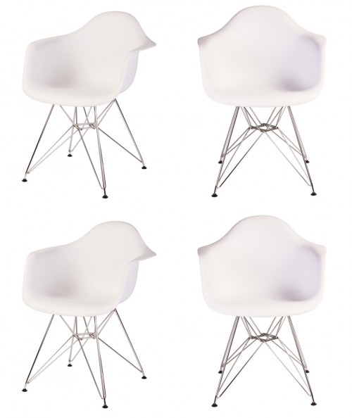 Set of 4 Eames Style DAR Molded White Plastic Dining Armchair with Steel Eiffel Legs