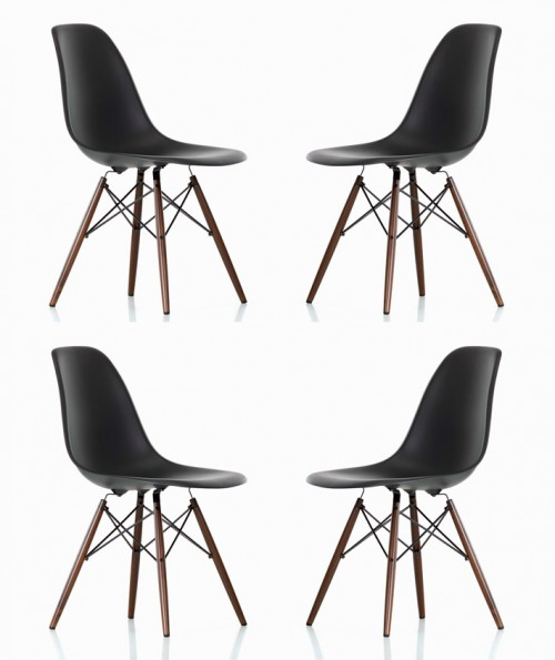 Set of 4 Eames Style DSW Molded Black Plastic Dining Shell Chair with Dark Walnut Wood Eiffel Legs