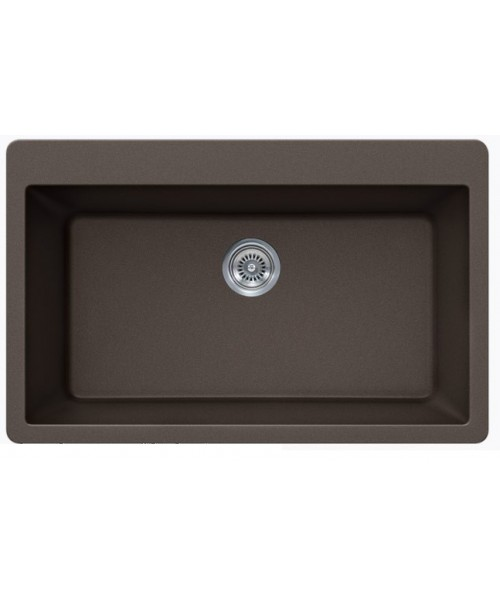 Mocha Quartz Composite Single Bowl Undermount / Drop In Kitchen Sink - 33 x 21 x 9 Inch