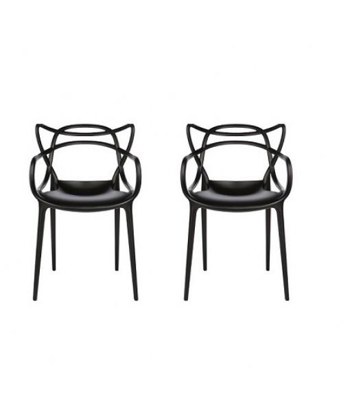 Set of 2 Modern Masters Designer Dining Chair In Black
