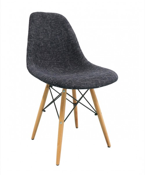 Black Fabric Upholstered DSW Shell Chair with Wood Eiffel Legs