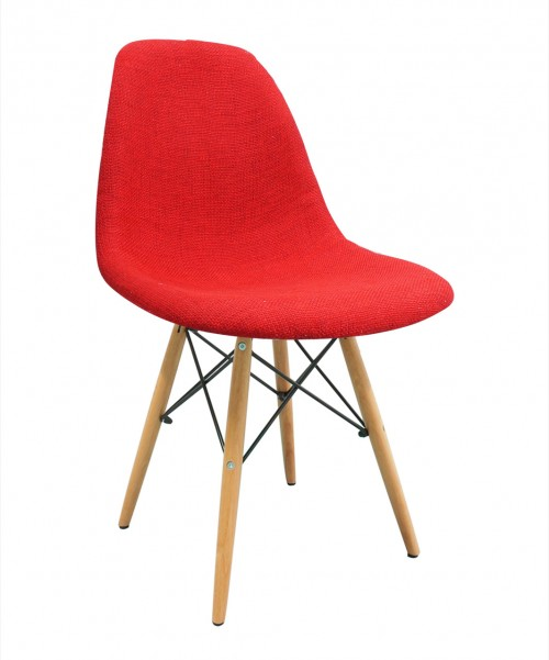 Red Fabric Upholstered DSW Shell Chair with Wood Eiffel Legs