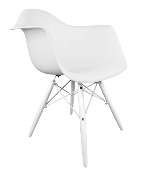 Eames Style DAW White Plastic Accent Arm Chair with White Wood Eiffel Legs