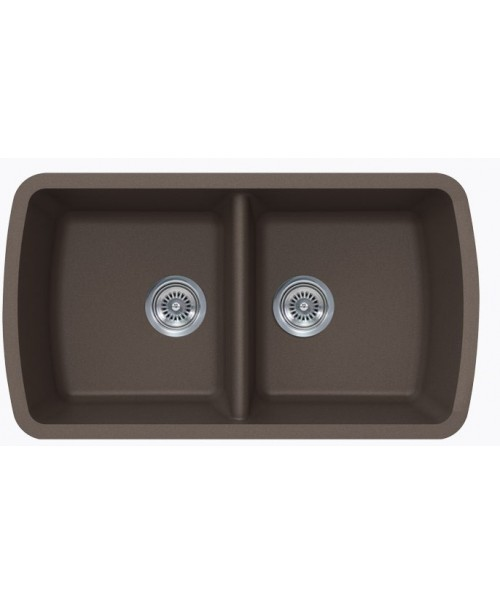 Mocha Quartz Composite 50/50 Double Bowl Undermount Kitchen Sink - 33-1/16 x 18-15/16 x 9-3/8 Inch