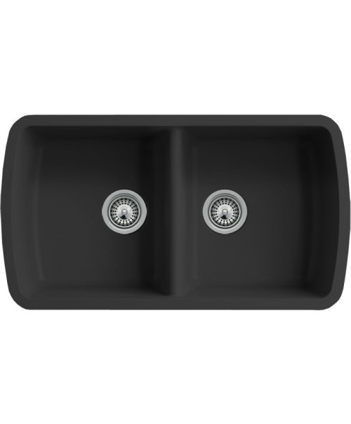 Black Quartz Composite 50/50 Double Bowl Undermount Kitchen Sink - 33-1/16 x 18-15/16 x 9-3/8 Inch