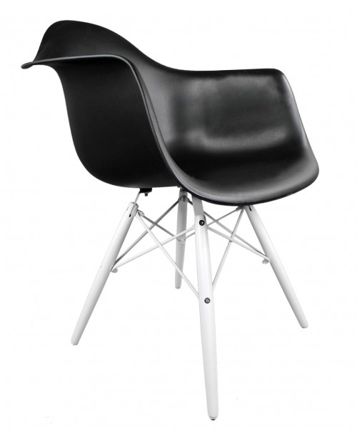 Eames Style DAW Black Plastic Accent Arm Chair with White Wood Eiffel Legs