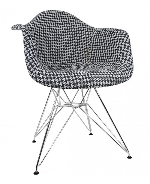 Houndstooth Pattern Woven Fabric Upholstered White Accent Arm Chair