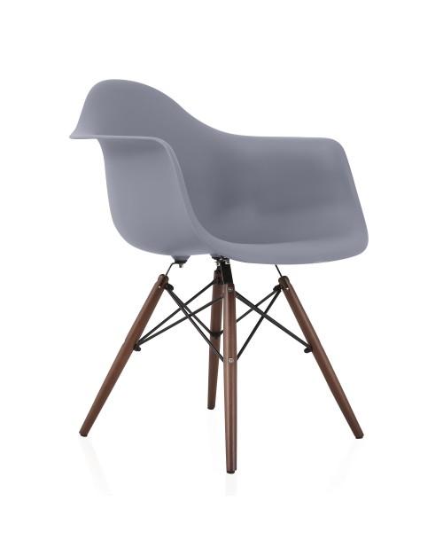 DAW Dark Gray Plastic Dining Armchair with Dark Walnut Wood Eiffel Legs