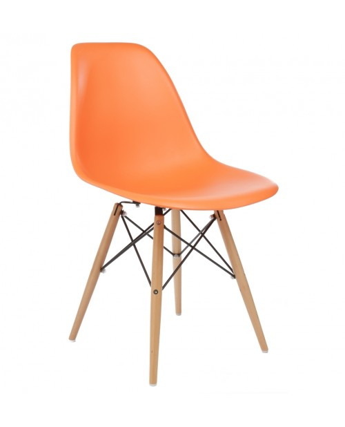 Eames Style DSW Molded Orange Plastic Dining Shell Chair with Wood Eiffel Legs