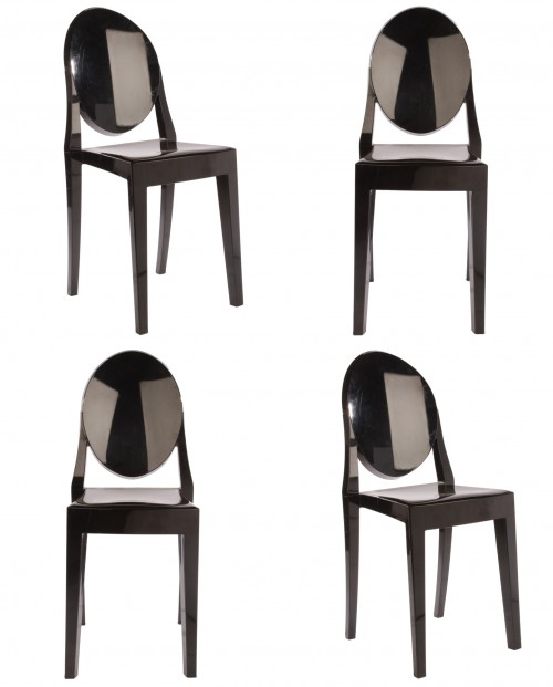 Set of 4 Victoria Style Ghost Dining Chair Black Color