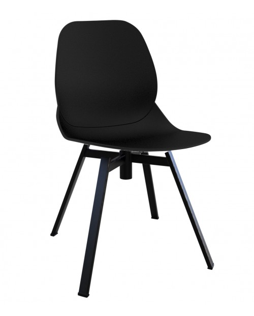 Joy Series Black Dining Shell Side Chair Black Leg Designer Task Chair