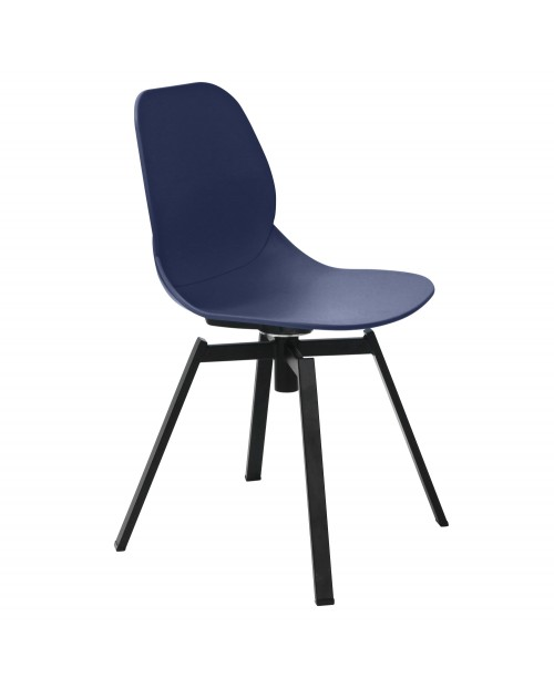 Joy Series Navy Dining Shell Side Chair Black Leg Designer Task Chair