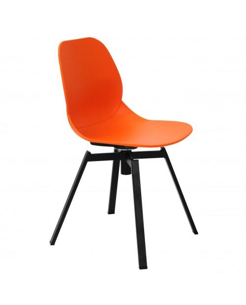 Joy Series Orange Dining Shell Side Chair Black Leg Designer Task Chair
