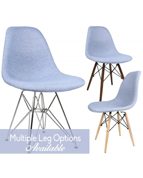 Blue Denim Fabric Upholstered Modern Accent Side Dining Chair