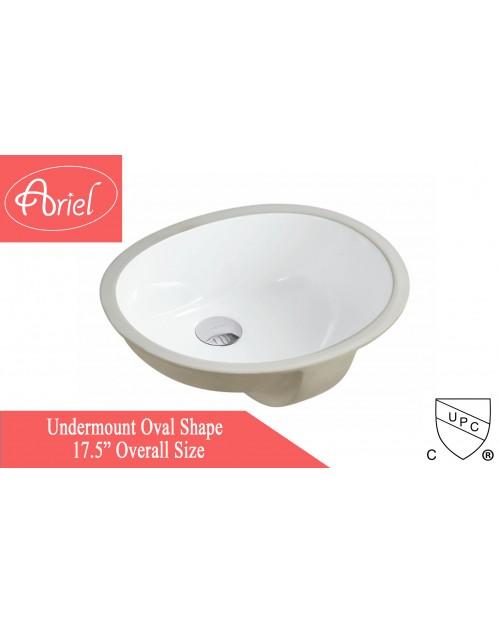 Porcelain Ceramic Vanity Undermount Bathroom Vessel Sink - 17 x 14 x 6 Inch