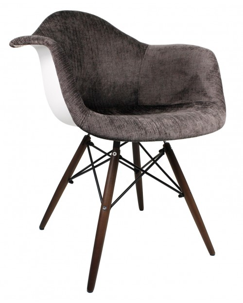 Cocoa Brown Velvet Fabric Accent Arm Chair with Dark Walnut Wood Eiffel Legs