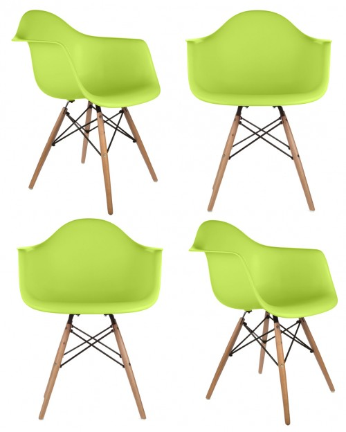 Set of 4 DAW Molded Lime Green Plastic Dining Armchair with Wood Eiffel Legs