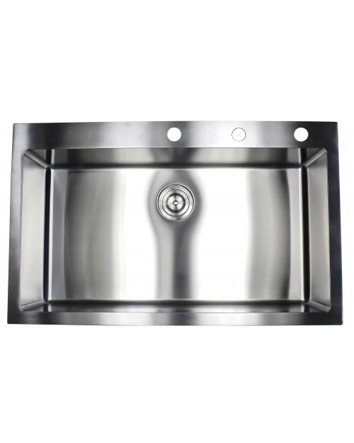 36 Inch Drop-In / Top-Mount Stainless Steel Single Bowl Kitchen Sink - 9 Gauge Deck & 16 Gauge Bowl