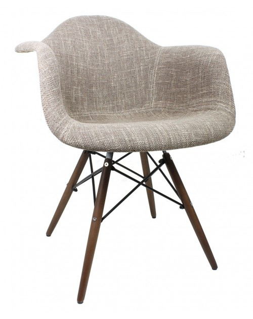 Brown Woven Fabric Accent Arm Chair with Dark Walnut Wood Eiffel Legs