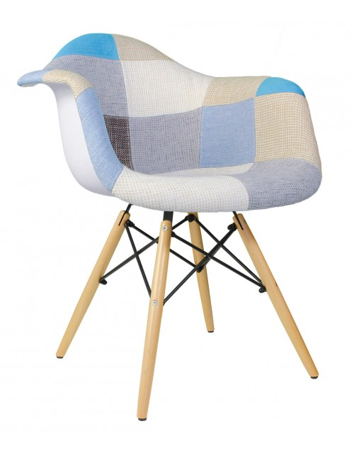 Patchwork Fabric Upholstered Mid-CenturyAccent Arm Chair