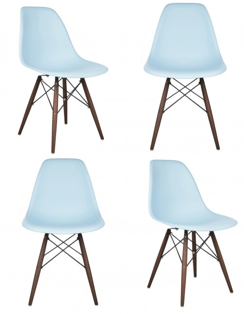 Set of 4 DSW Molded Light Blue Plastic Dining Shell Chair with Dark Walnut Wood Eiffel Legs