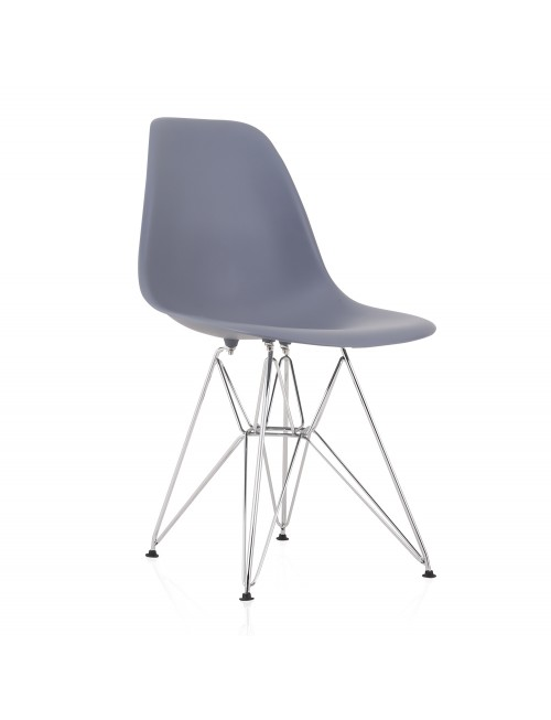 Eames Style DSR Molded Dark Gray Plastic Dining Shell Chair with Steel Eiffel Legs