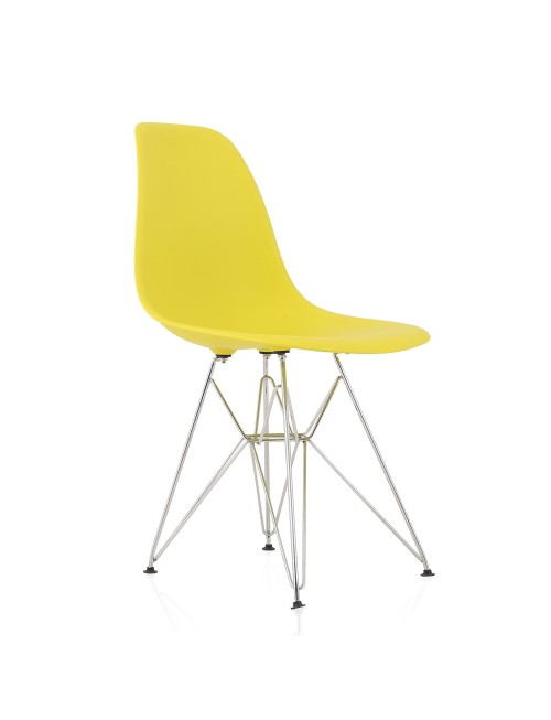 DSR Molded Light Yellow Plastic Dining Shell Chair with Steel Eiffel Legs