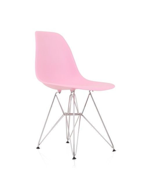 DSR Molded Pink Plastic Dining Shell Chair with Steel Eiffel Legs
