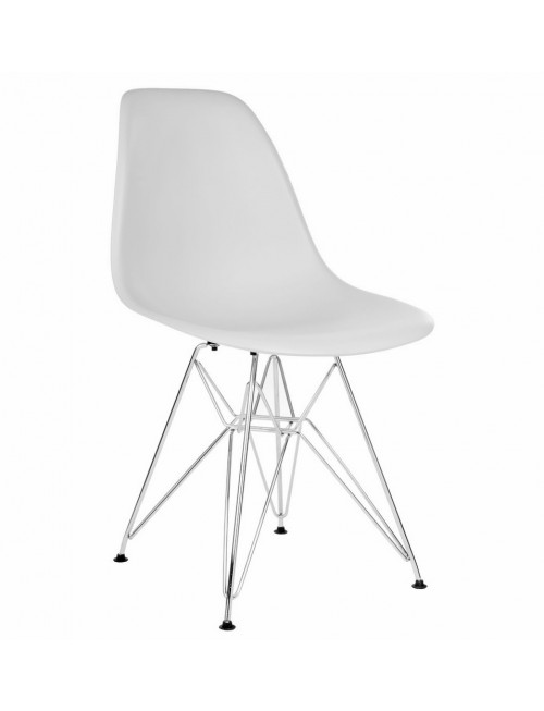 DSR Light Gray Plastic Dining Shell Chair with Steel Eiffel Legs