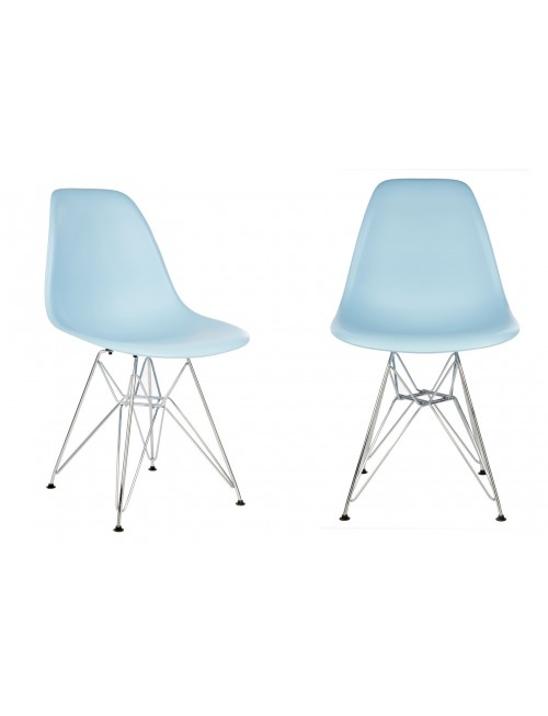 Set of 2 Eames Style DSR Molded Light Blue Plastic Dining Shell Chair with Steel Eiffel Legs