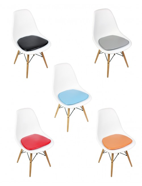 Eames Style DSW Molded White Plastic Dining Shell Chair with Cushion