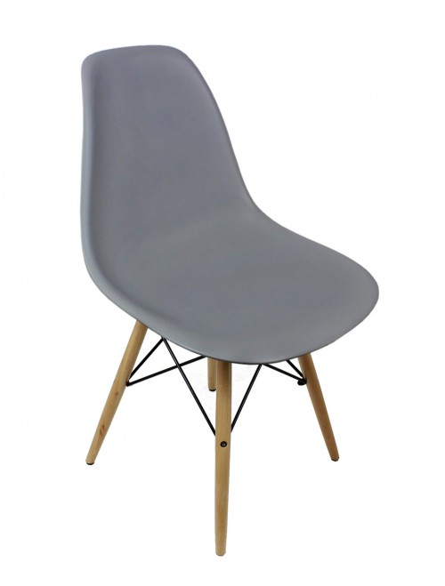 Eames Style DSW Gray Plastic Dining Shell Chair with Wood Eiffel Legs