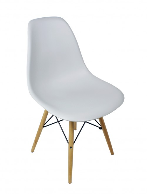 DSW Light Gray Plastic Dining Shell Chair with Wood Eiffel Legs