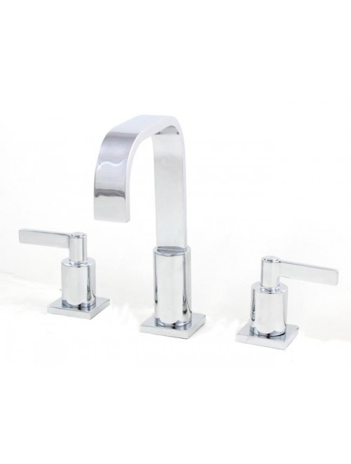 Widespread Lead Free 3 Hole Bathroom Faucet Polished Chrome Finish