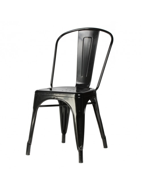 Tolix Style Metal Industrial Loft Designer Black Cafe Chair