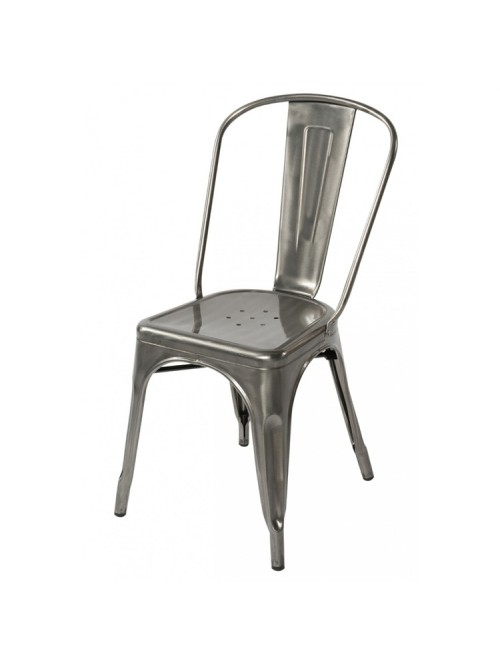 Tolix Style Metal Industrial Loft Designer Gun Metal Cafe Chair