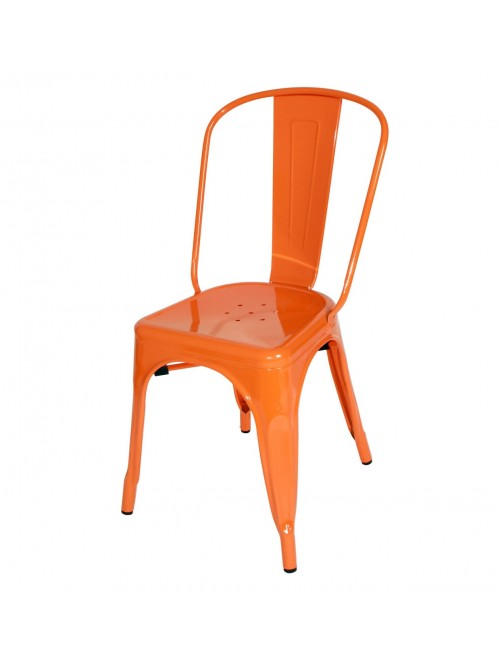 Tolix Style Metal Industrial Loft Designer Orange Cafe Chair