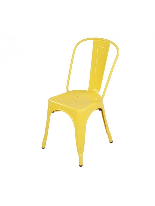 Tolix Style Metal Industrial Loft Designer Yellow Cafe Chair