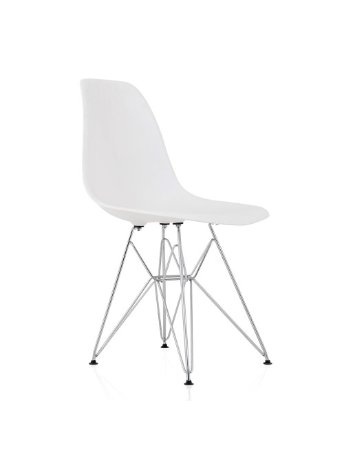 DSR Molded White Plastic Dining Shell Chair with Steel Eiffel Legs